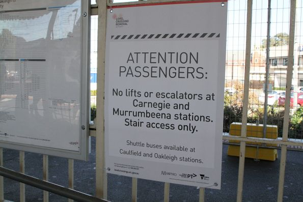 'No lift or escalators at Carnegie and Murrumbeena stations. Stair access only' sign at Oakleigh station