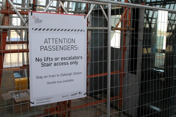 'No lifts or escalators. Stair access only' sign at Hughesdale station