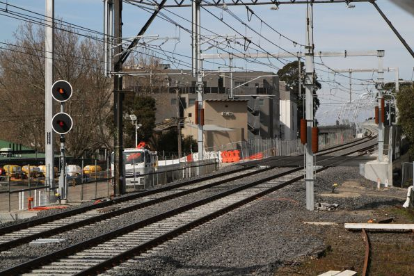 Track ramp at Caulfield leading up to the 'skyrail' viaduct towards Dandenong