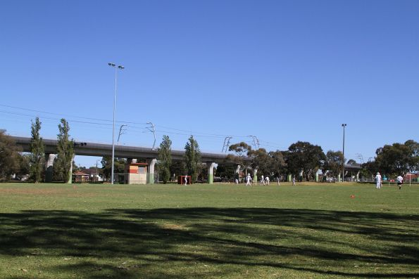 Completed 'Skyrail' viaduct beside Ross Reserve in Noble Park