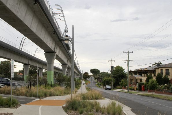 Skyrail viaduct parallel to Railway Parade in Murrumbeena
