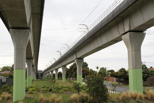 Skyrail viaduct above the Riley Reserve in Murrumbeena