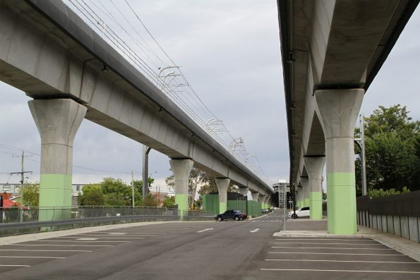 Station car park stretches forever beneath the viaduct at Murrumbeena