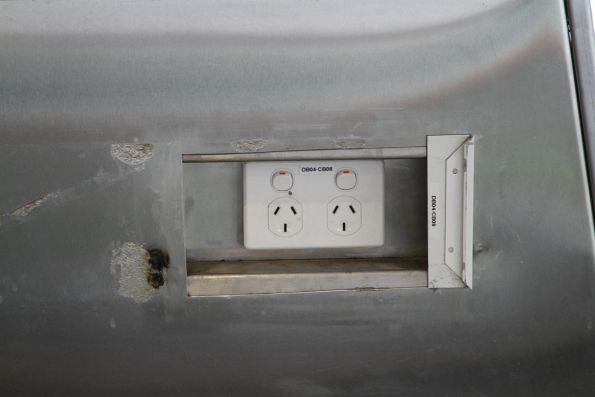 Power outlets in the waiting room at Murrumbeena station
