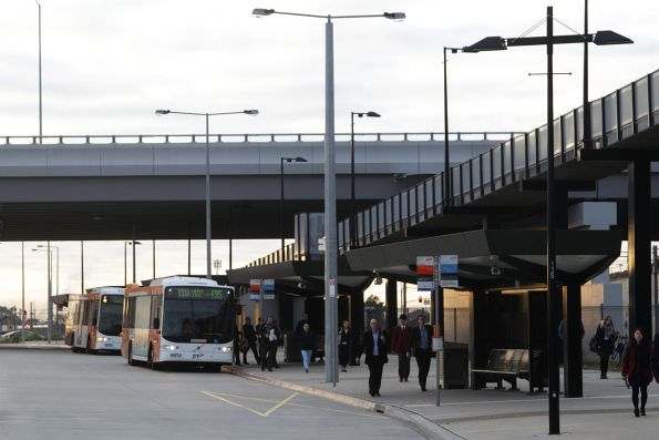 CDC Melbourne buses drop off passengers at Williams Landing station