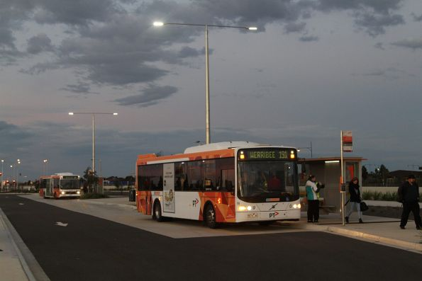 Buses waiting for connecting train passengers at Wyndham Vale station
