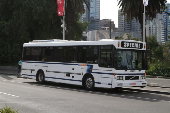 CDC Melbourne high floor bus #77 4874AO parked between charter runs at the Arts Centre