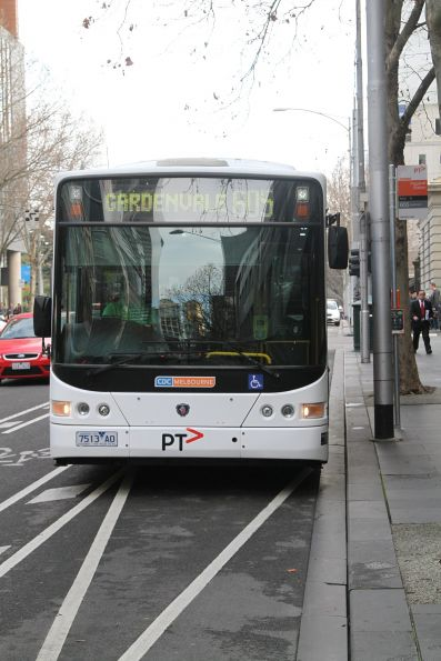CDC Melbourne bus 7543AO at the new route 605 terminus on William Street near Flagstaff station