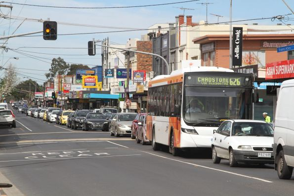 CDC Melbourne bus northbound on route 626 along Koornang Road, Carnegie