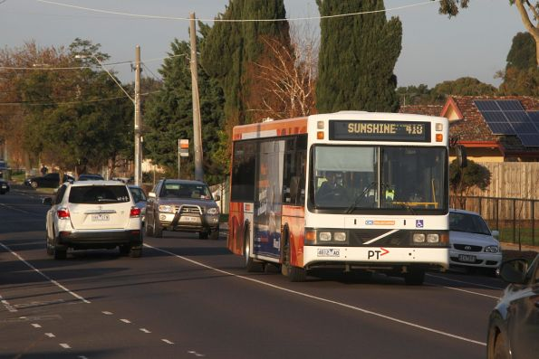 CDC Melbourne non air-conditioned bus 4812AO on route 410 approaches Sunshine station on Devonshire Road