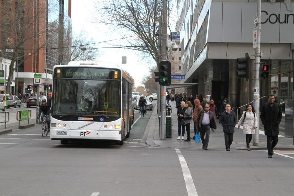CDC Melbourne bus 3996AO on route 605 at William and Lonsdale Street