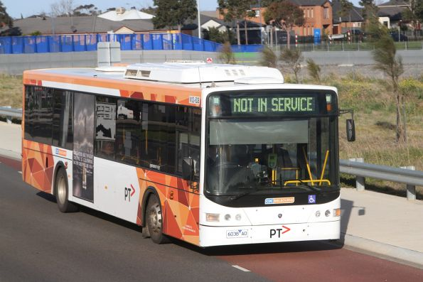 CDC Melbourne bus #103 6038AO arrives at Wyndham Vale station