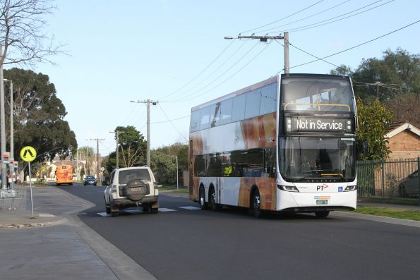 CDC Melbourne double decker bus #131 BS01GV departs Werribee station