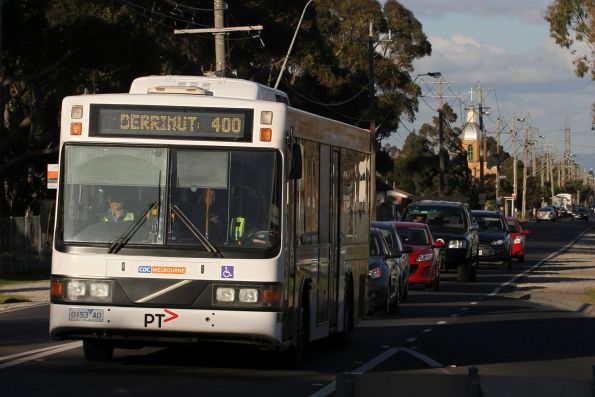 CDC Melbourne bus 0153AO heads west on route 400 along Forrest Street in Ardeer
