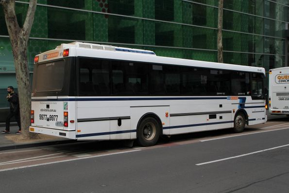 CDC Melbourne air conditioned high floor bus #74 4873AO parked on a charter at Queen and Collins Street