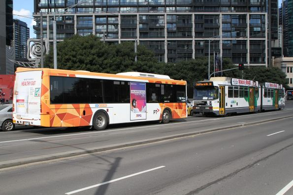 CDC Melbourne bus #111 rego 5496AO on route 605 across Queens Bridge