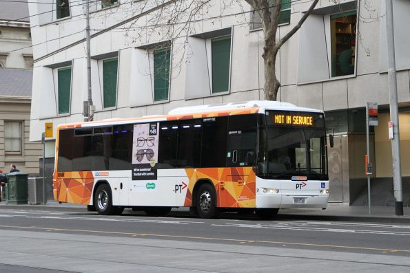 CDC Melbourne bus #91 8091AO between route 605 services on William Street