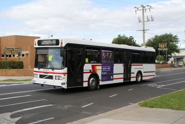 CDC Melbourne high floor bus #34 4928AO on route 410 on Devonshire Road, Sunshine