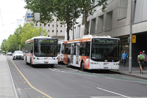 CDC Melbourne bus #143 BS00RL drives past the route 605 stop at Flagstaff station thanks to a trio of Transdev buses blocking it