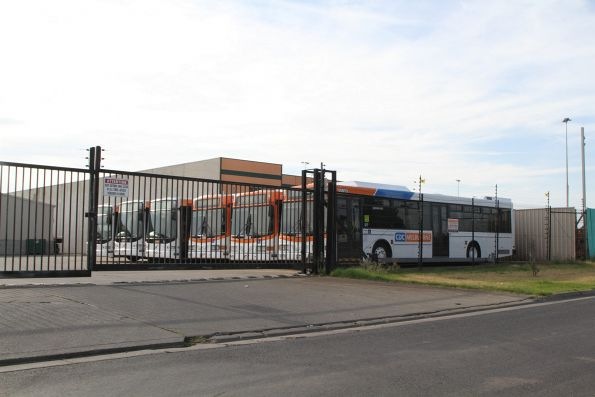 CDC Melbourne liveried buses parked at the Sunshine depot