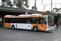 CDC Melbourne hybrid bus #157 BS05HC turns from Queensbridge into Flinders Street on route 605
