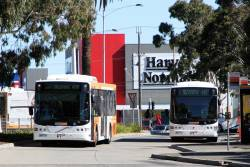 CDC Melbourne buses 3886AO on route 408 passes 6507AO on route 407 at Highpoint shopping centre