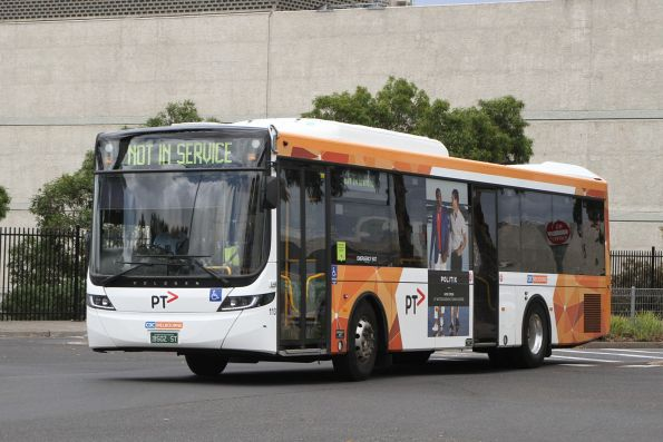 CDC Melbourne bus #113 BS02ST departs Highpoint Shopping Centre out of service