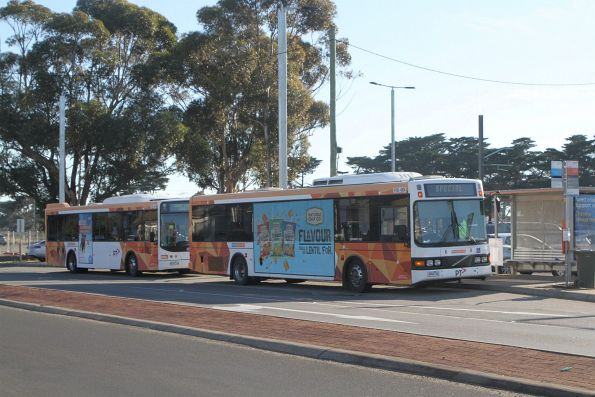 CDC Melbourne bus W195 4904AO beside W128 9074AO on route 496 at Aircraft station