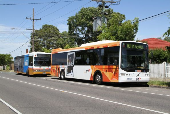 CDC Melbourne bus #93 9073AO parked beside Transit Systems #152 22152AO on Hampshire Road, Sunshine