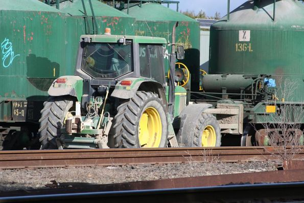 BCSC's tractor shunting loaded hoppers from the loading bays
