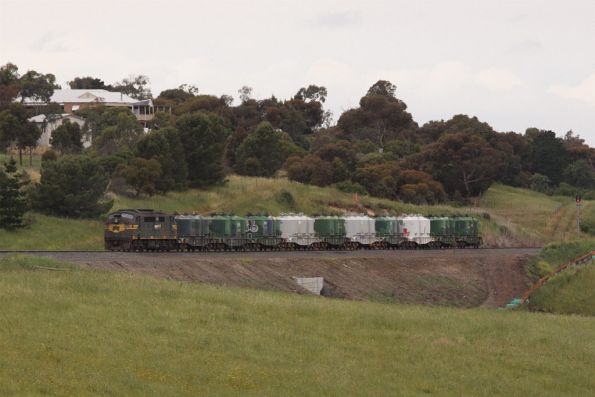A78 leads the North Geelong Yard - Gheringhap cement shunt up the Cowie Creek Valley