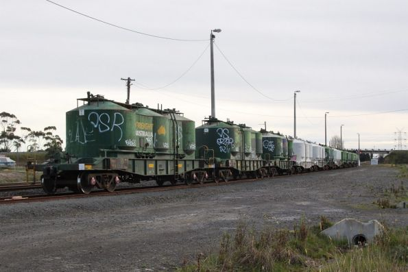 Twelve VPAX cement hoppers in the siding at Gheringhap, waiting their trip north to Mildura