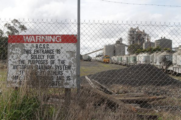 Warning sign outside the Waurn Ponds cement works