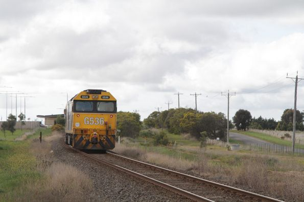 G536 return light engine from the cement works at Waurn Ponds station