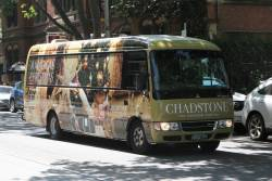 Chadstone hotel shuttle bus BS02FY in Christmas 2019 livery at Bourke and King Street