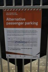 'Alternative passenger parking' sign at Cheltenham station