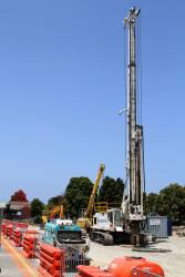 Piling rig at work on the former Cheltenham platform 1 alignment