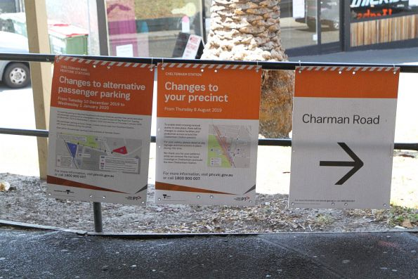 'Changes to your precinct' signage at Cheltenham station