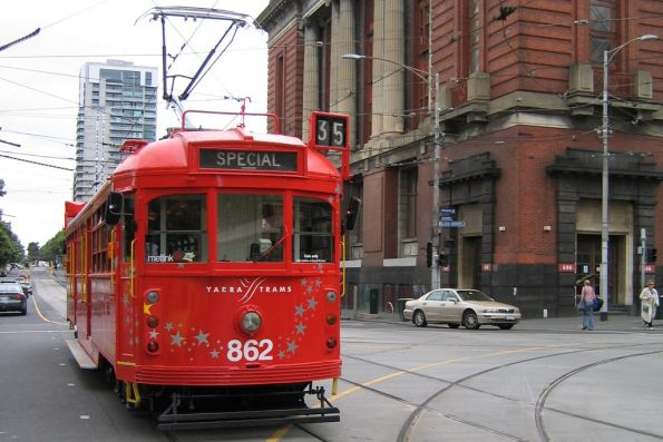2006 Christmas tram SW6.862 northbound at Spencer and Bourke Street