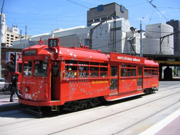 2006 Christmas tram SW6.862 westbound at Flinders and Spencer Street