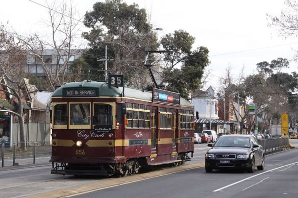 City Circle tram SW6.856 trundles along Nicholson Street, having stabled overnight at North Fitzroy depot