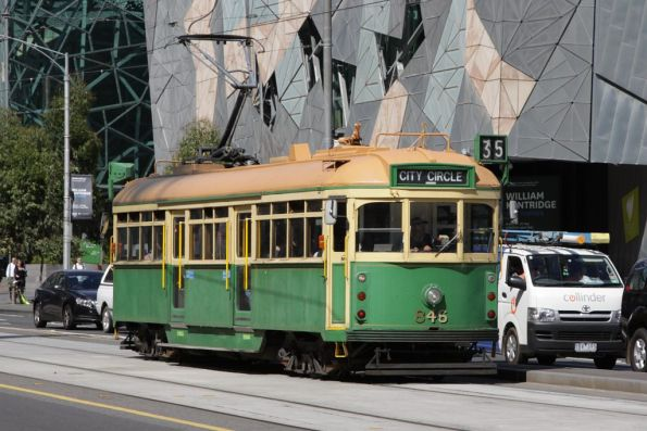 SW5.846 on a westbound City Circle service on Flinders Street at Swanston Street