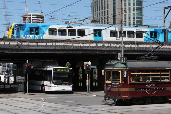 All three modes of public transport in Melbourne - train, tram and bus