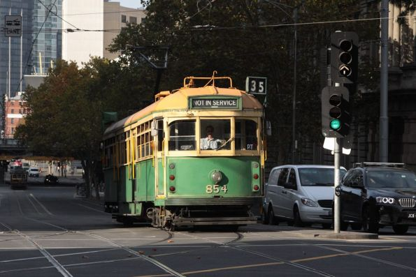 SW6.854 heads north on Spencer Street at Collins Street