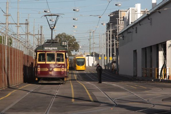 W6.983 leads the row of stabled City Circle trams at Southbank depot