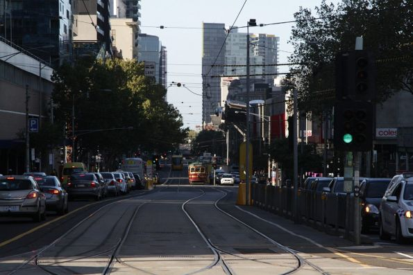 Empty City Circle tram heads north up Spencer Street from Southbank Depot