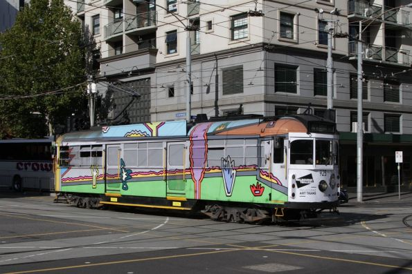 Art tram SW6.925 heads west at La Trobe and Spencer Streets