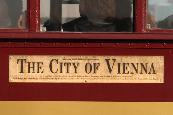 'City of Vienna' name plaque on the side of W7.1020
