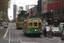 W8.1010 and W8.983 head north at Spencer and Lonsdale Street car out from Southbank Depot
