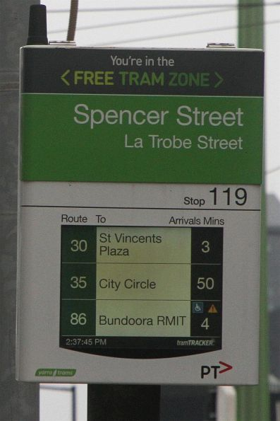 50 minutes until the next City Circle Tram along La Trobe Street!